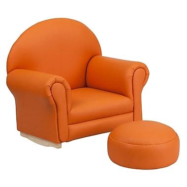 Flash Furniture – Fauteuil berçant pour enfants avec pouf en vinyle, orange (SF03OTTOOR)