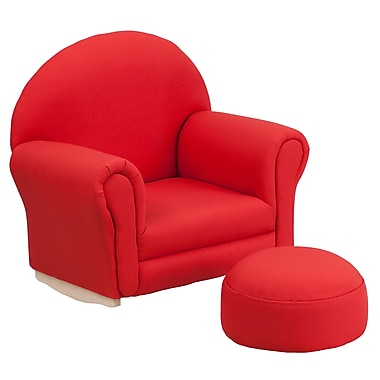 Flash Furniture Kids Fabric Rocker Chair and Footrest, Red (SF03OTTORED)