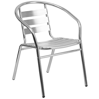 Flash Furniture Aluminum Commercial Indoor/Outdoor Restaurant Stack Chair, Triple-Slat Back (TLH017B)
