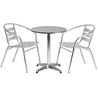 Flash Furniture 23.5'' Round Aluminum Indoor/Outdoor Table with 2 Slat-Back Chairs (TLH24RD017BCHR2)
