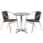Flash Furniture 23.5'' Round Aluminum Indoor/Outdoor Table with 2 Rattan Chairs (TLH24RD020CHR2)