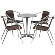 Flash Furniture 23.5'' Round Aluminum Indoor/Outdoor Table with 4 Rattan Chairs (TLH24RD020CHR4)