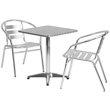 Flash Furniture 23.5'' Square Aluminum Indoor/Outdoor Table with 2 Slat-Back Chairs (TLH24SQ017BCHR2)