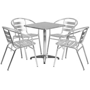 Flash Furniture 23.5'' Square Aluminum Indoor/Outdoor Table with 4 Slat-Back Chairs (TLH24SQ017BCHR4)