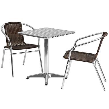 Flash Furniture – Table carrée de 23,5 po en aluminium avec 2 sièges en rotin, intérieur/extérieur (TLH24SQ020CHR2)
