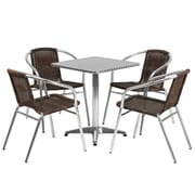 Flash Furniture 23.5'' Square Aluminum Indoor-Outdoor Table, 4 Rattan Chairs (TLH24SQ020CHR4)