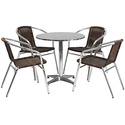 Flash Furniture 27.5'' Round Aluminum Indoor/Outdoor Table with 4 Rattan Chairs (TLH28RD020CHR4)