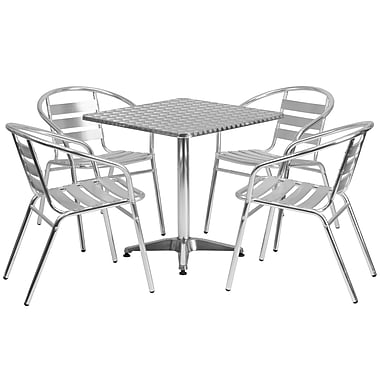 Flash Furniture 27.5'' Square Aluminum Indoor/Outdoor Table with 4 Slat-Back Chairs (TLH28SQ017BCHR4)