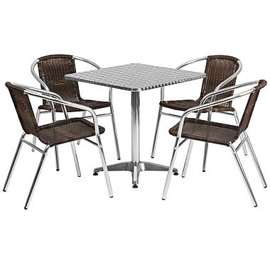 Flash Furniture – Table carrée de 27,5 po en aluminium avec 4 sièges en rotin, intérieur/extérieur (TLH28SQ020CHR4)