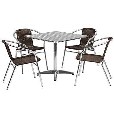 Flash Furniture 31.5'' Square Aluminum Indoor/Outdoor Table with 4 Rattan Chairs (TLH32SQ020CHR4)