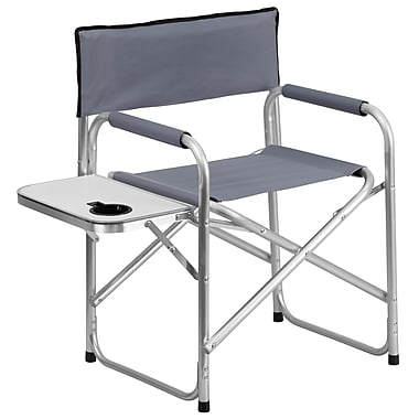 Flash Furniture Aluminum Folding Camping Chair with Table and Drink Holder in Gray (TY1104GY)