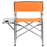 Flash Furniture Aluminum Folding Camping Chair with Table and Drink Holder, Orange (TY1104OR)