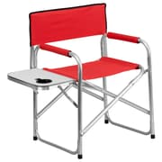 Flash Furniture Aluminum Folding Camping Chair with Table and Drink Holder, Red (TY1104RED)