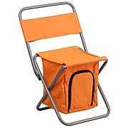Flash Kids Folding Camping Chair w/Insulated Storage in Orange, Silver Powder Coated Frame Finish