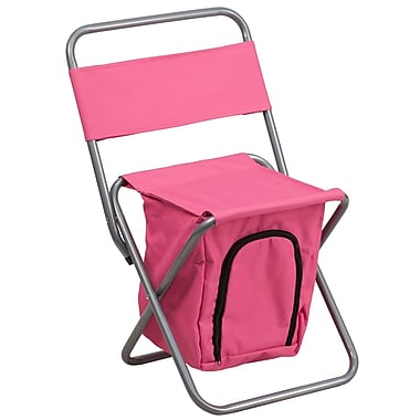 Flash Furniture – Chaise de camping pliante pour enfants avec compartiment isotherme, rose (TY1262PK)