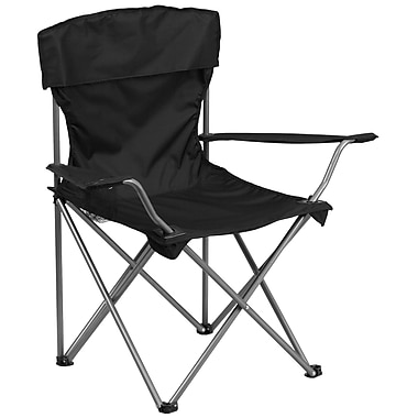 Flash Furniture Folding Camping Chair with Drink Holder, Black (TY1410BK)