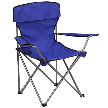 Flash Furniture Folding Camping Chair with Drink Holder, Blue (TY1410BL)