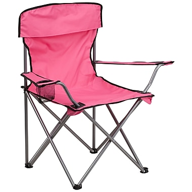 Flash Furniture Folding Camping Chair with Drink Holder, Pink (TY1410PK)
