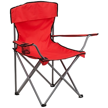Flash Furniture Folding Camping Chair with Drink Holder in Red (TY1410RED)