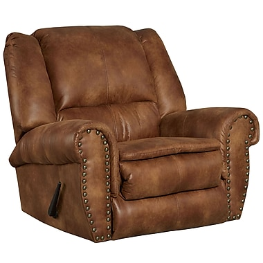 Flash Furniture – Fauteuil berçant inclinable, tissu Padre confortable et respirant amande à clous de bronze (WA1459691)