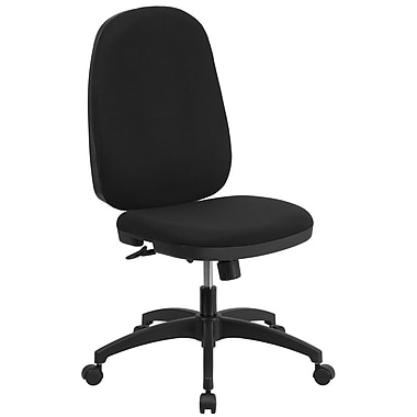 Flash Furniture High-Back Fabric Multi-Functional Swivel Task Chair with Back Angle Adjustment, Black (WR609G)