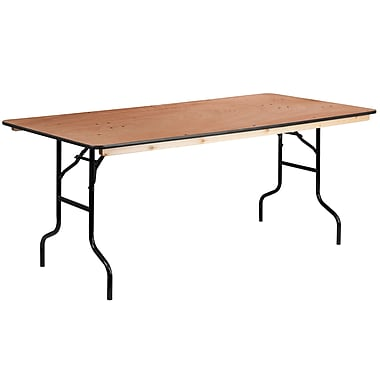 Flash Furniture 36'' x 72'' Rectangular Wood Folding Banquet Table with Clear-Coat Finished Top (XA3672P)