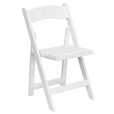 Flash Furniture Hercules Series Wood Folding Chair with Vinyl Padded Seat, White, XF2901WHITE