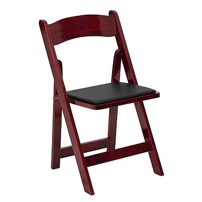 Flash Furniture Hercules Series Wood Folding Chair, Mahogany, Vinyl Padded Seat (XF2903MAHWOOD)