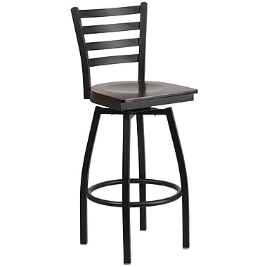 Flash Furniture Hercules Series Ladderback Swivel Metal Barstool, Black with Walnut Wood Seat (XU6F8BLDSWVWAW)
