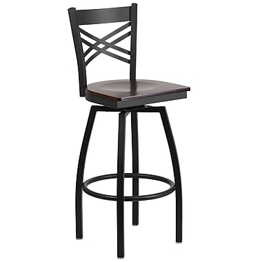 Flash Furniture Hercules Series 29'' Black ''X'' Back Metal Restaurant Barstool, Walnut Wood Seat, (XU6FOBXBARWAW)
