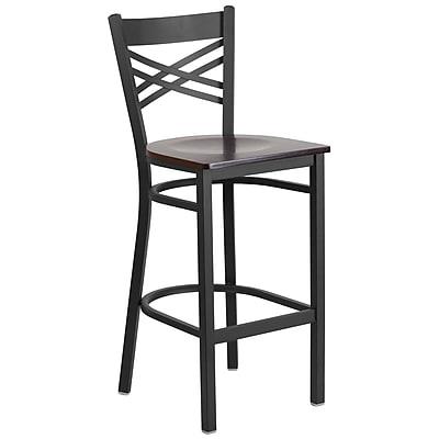 Flash Furniture Hercules Series 29'' Black ''X'' Back Metal Restaurant Barstool (XU6FOBXBARWAW)