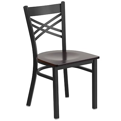 Flash Furniture Hercules Series Black X-Back Metal Restaurant Chair, Walnut Wood Seat (XU6FOBXBKWALW)