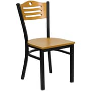 Flash Furniture  Hercules Series Slat-Back Metal Restaurant Chair Black with Natural Wood Back and Seat (XU6G7BSLTNAW)
