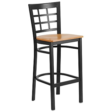 Flash Furniture Hercules Series Window-Back Metal Restaurant Barstool, Black with Natural Wood Seat (XU6R7BWINBARNTW)