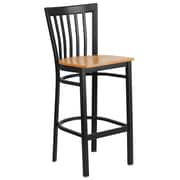 Flash Furniture  Hercules Series 29'' Black School House Back Metal Restaurant Barstool, Natural Wood Seat (XU6R8BSCHBARNTW)