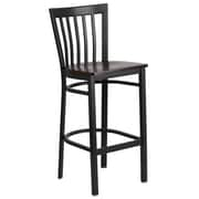 Flash Furniture  Hercules Schoolhouse-Back Metal Restaurant Barstool, Black with Walnut Wood Seat (XU6R8BSCHBARWAW)