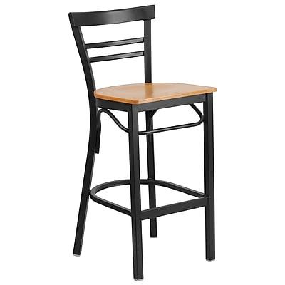 "Flash Furniture  Hercules Series 29"" Black Ladder Back Metal Restaurant Barstool, Natural Wood Seat (XU6R9BLADBARNTW)"