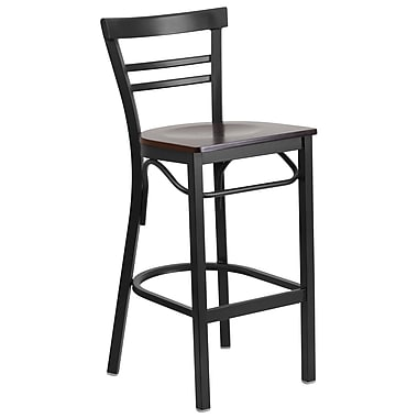 Flash Furniture – Tabouret bistro HERCULES en métal, dossier à traverses, noir, siège en noyer (XU6R9BLADBARWAW)