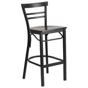 Flash Furniture  Hercules Series Ladderback Metal Restaurant Barstool, Black with Walnut Wood Seat (XU6R9BLADBARWAW)