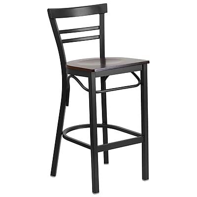 Flash Furniture Hercules Series Ladderback Metal Restaurant Barstool, Black with Walnut Wood Seat (XU6R9BLADBARWAW)