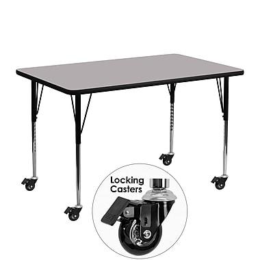 Flash Furniture – Table d'activités mobile, hauteur ajustable, surface en stratifié de 48 x 24 po, gris (XUA2448RECGYTAC)