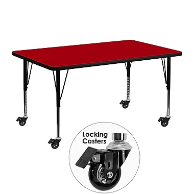 Flash Furniture – Table mobile, surface en stratifié de 24 x 48 po, hauteur ajustable préscolaire, rouge (XUA2448RECRDTPC)