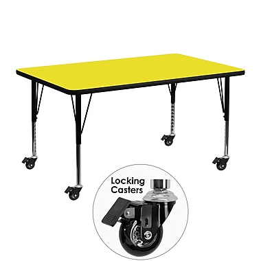 Flash Furniture – Table mobile préscolaire, hauteur ajustable, surface en stratifié 24 x 48 x 1,25 po, jaune (XUA2448RECYLHPC)