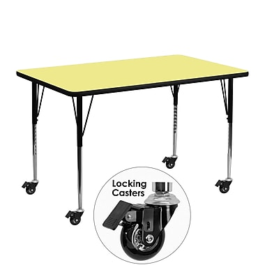 Flash Furniture Mobile 24''W x 48''L Rectangular Activity Table, Yellow Laminate Top, Height-Adjustable Legs (XUA2448RECYLTAC)