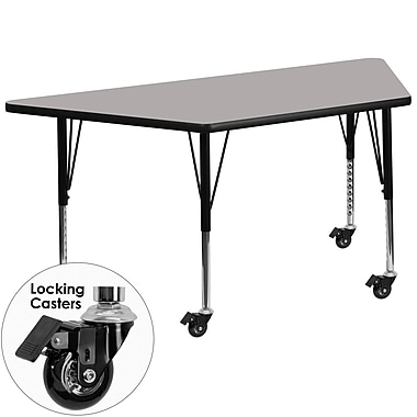 Flash Furniture Mobile 20''W x 45.25''L Trapezoid Activity Table with 1.25'' Grey Laminate Top, Preschool Legs (XUA2448TRPGYHPC)