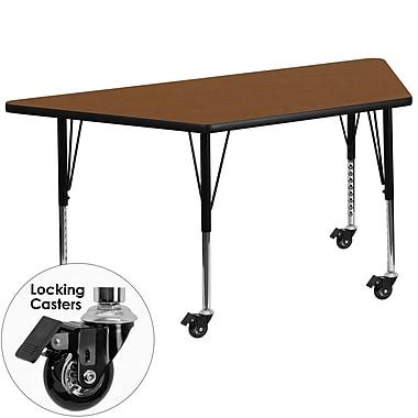 Flash Furniture Mobile 24''W x 48''L Trapezoid Activity Table, 1.25'' Oak Laminate Top, Preschool Legs (XUA2448TRPOKHPC)