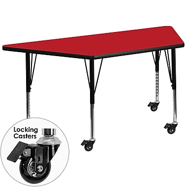 Flash Furniture – Table mobile préscolaire trapèze, hauteur ajustable, surface 24 x 48 x 1,25po, rouge (XUA2448TRPRDHPC)