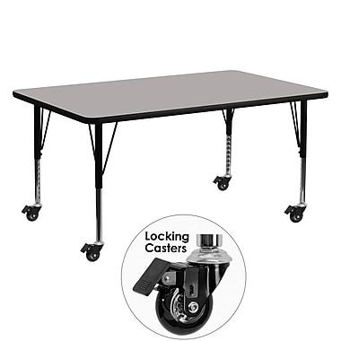Flash Furniture – Table mobile, surface en stratifié 24 x 60 x 1,25 po, hauteur ajustable préscolaire, gris (XUA2460RECGYHPC)