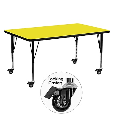 Flash Furniture Mobile 24''W x 60''L Rectangular Activity Table, 1.25'' Yellow Laminate Top, Preschool Legs (XUA2460RECYLHPC)