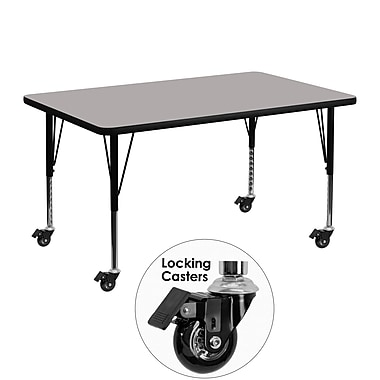 Flash Furniture Mobile 30''W x 48''L Rectangular Activity Table, 1.25'' Gray Laminate Top, Preschool Legs (XUA3048RECGYHPC)